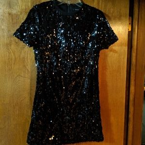 Forever 21 black sequin crew neck mini dress
